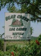 Buffalo National River  Arkansas log cabin vacation rental cabins at Bear Creek Log Cabins just off Hwy 65