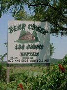Buffalo National River  Arkansas log cabin vacation rental cabins at Bear Creek Log Cabins just off Hwy 65